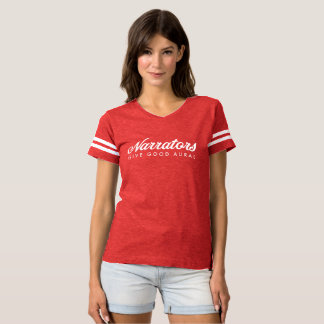 Narrators Give Good Aural womens ftball jersey +we T-shirt