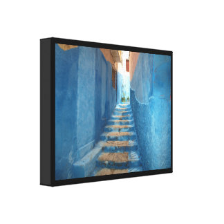 Narrow Blue Stairway in Morocco Canvas Print