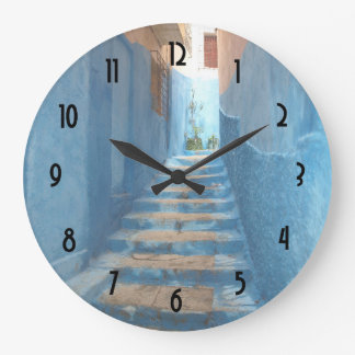 Narrow Blue Stairway in Morocco Clock