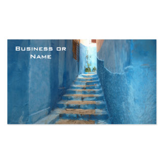 Narrow Blue Stairway in Morocco Double-Sided Standard Business Cards (Pack Of 100)