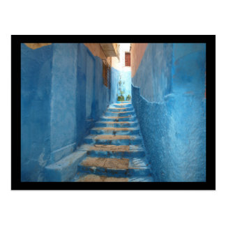 Narrow Blue Stairway in Morocco Postcard