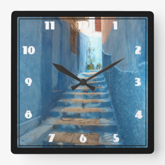 Narrow Blue Stairway in Morocco Square Wall Clocks
