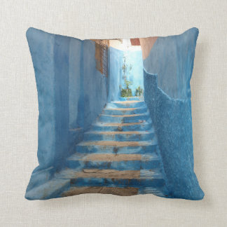 Narrow Blue Stairway in Morocco Throw Pillows
