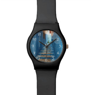 Narrow Blue Stairway in Morocco Wrist Watches