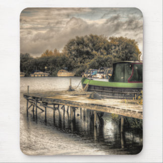 Narrow Boat and Jetty mouse mat Mouse Pad