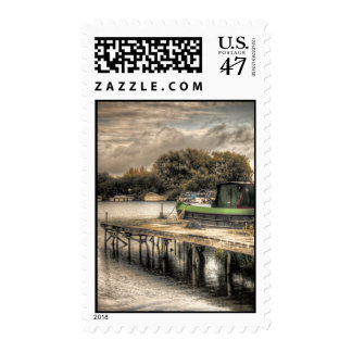 Narrow Boat and Jetty postage stamps