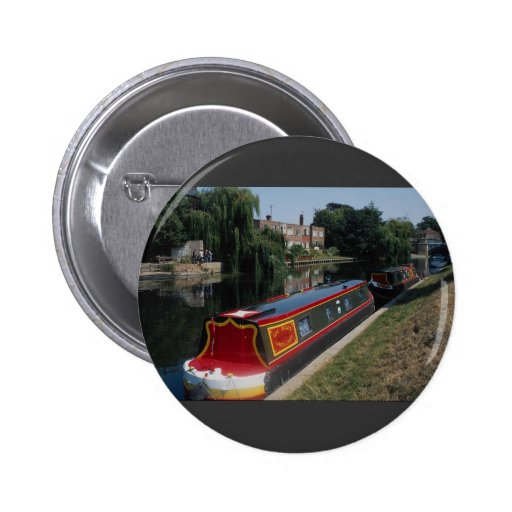 Narrow boat at Jesus Green, River Cam, Cambridge, Pinback Buttons