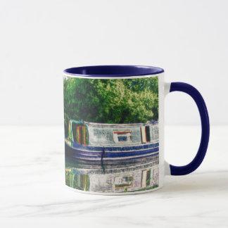 Narrow boat on the River Nene mug