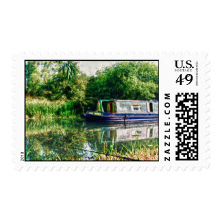 Narrow boat on the River Nene postage