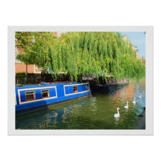 Narrow boats in Lincoln Poster