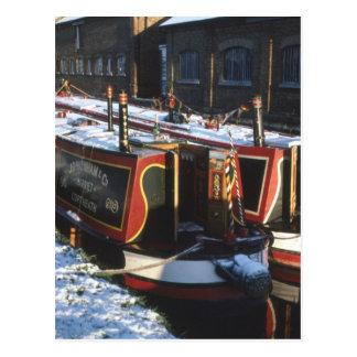 Narrow boats in winter postcard