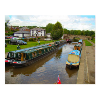 Narrow boats stopping point near the Aquaduct Postcard