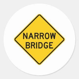 Narrow Bridge Highway Sign Classic Round Sticker