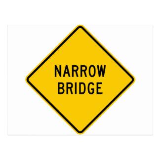 Narrow Bridge Highway Sign Postcard