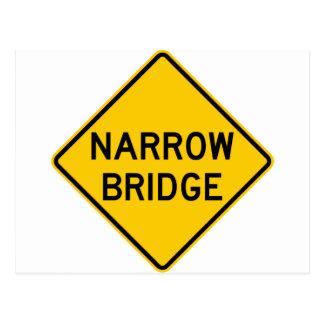 Narrow Bridge Highway Sign Post Card