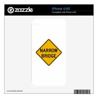 Narrow Bridge, Traffic Warning Sign, USA iPhone 4S Decal
