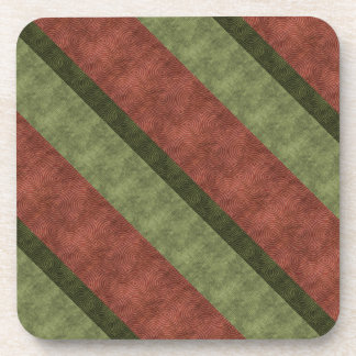 Narrow Broad Wine and Green Diagonal Striped Drink Coaster