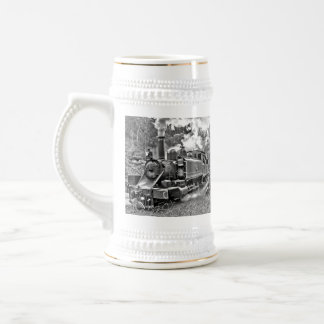 Narrow Gauge Steam Train Black and White Beer Stein