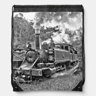 Narrow Gauge Steam Train Black and White Drawstring Bag