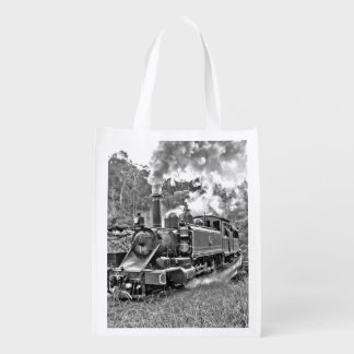 Narrow Gauge Steam Train Black and White Reusable Grocery Bag