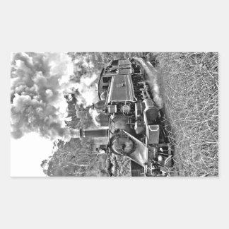Narrow Gauge Steam Train Black and White Rectangular Stickers