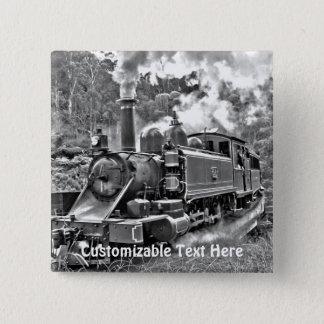 Narrow Gauge Steam Train Puffing Engine Pinback Button