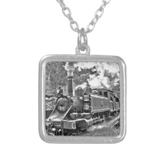 Narrow Gauge Steam Train Puffing Engine Silver Plated Necklace