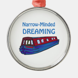 NARROW MINDED DREAMING ROUND METAL CHRISTMAS ORNAMENT