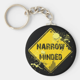 NARROW MINDED ROAD SIGN BASIC ROUND BUTTON KEYCHAIN