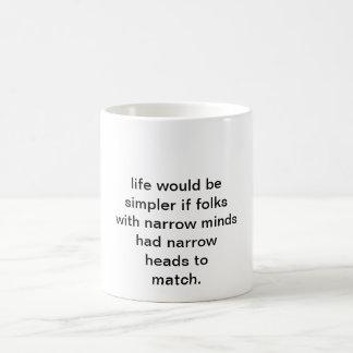 Narrow minds classic white coffee mug