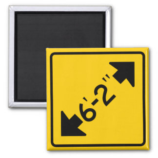 Narrow Passage Highway Sign 2 Inch Square Magnet