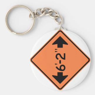 Narrow Passage Highway Sign Basic Round Button Keychain