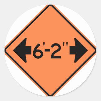 Narrow Passage Highway Sign Classic Round Sticker