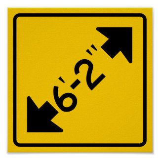 Narrow Passage Highway Sign Poster