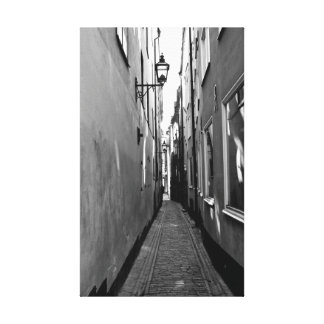 Narrow street in Stockholm Canvas Print