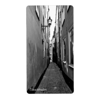 Narrow street in Stockholm Label
