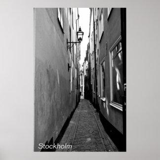Narrow street in Stockholm Poster
