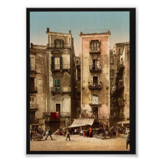 Narrow streets Naples Italy classic Photochrom Poster