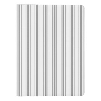 Narrow Stripe Charcoal Gray White Mattress Ticking Extra Large Moleskine Notebook
