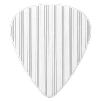 Narrow Stripe Charcoal Gray White Mattress Ticking White Delrin Guitar Pick by Honor_and_Obey at Zazzle