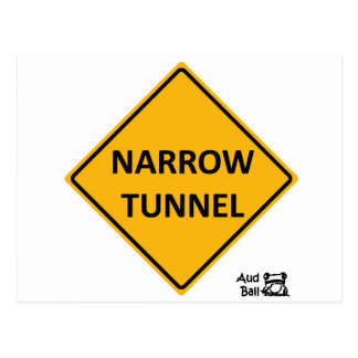 Narrow tunnel road sign. postcards