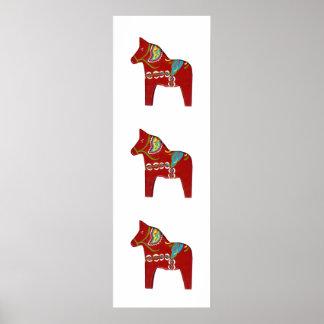 Narrow wall dala horses poster