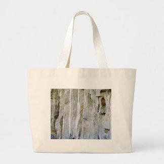 Narrow white rock column large tote bag