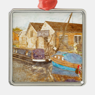 Narrowboat And Boat Builders Yard Metal Ornament