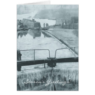 Narrowboat and butty in ice Berkhamsted Card