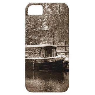 Narrowboat congelado en el canal iPhone 5 Case-Mate protector