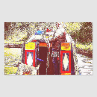 Narrowboat Henry, Coventry Canal, Nuneaton. Rectangular Sticker