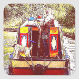 Narrowboat Henry, Coventry Canal, Nuneaton. Square Sticker