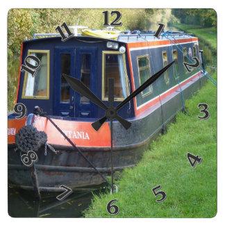 Narrowboat on British Inland Waterways System Square Wall Clock