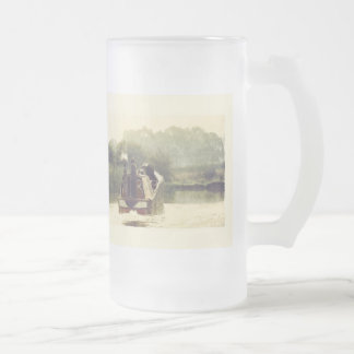 Narrowboat on the Ashby Frosted Glass Beer Mug